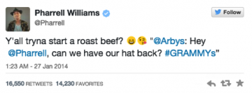 Pharrell William's Twitter reply to Arby's
